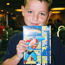 An ecstatic David Winfield let out a yell when he won the DVD set of Superman: The Animated Series, volume two!