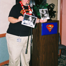 Film historian John Field asks the audience trivia questions and awards the correct answers with photos of George Reeves as Superman!