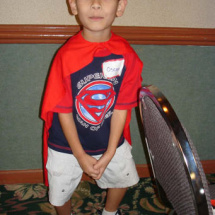 Oscar Spangler wears his brand new Superman cape proudly!